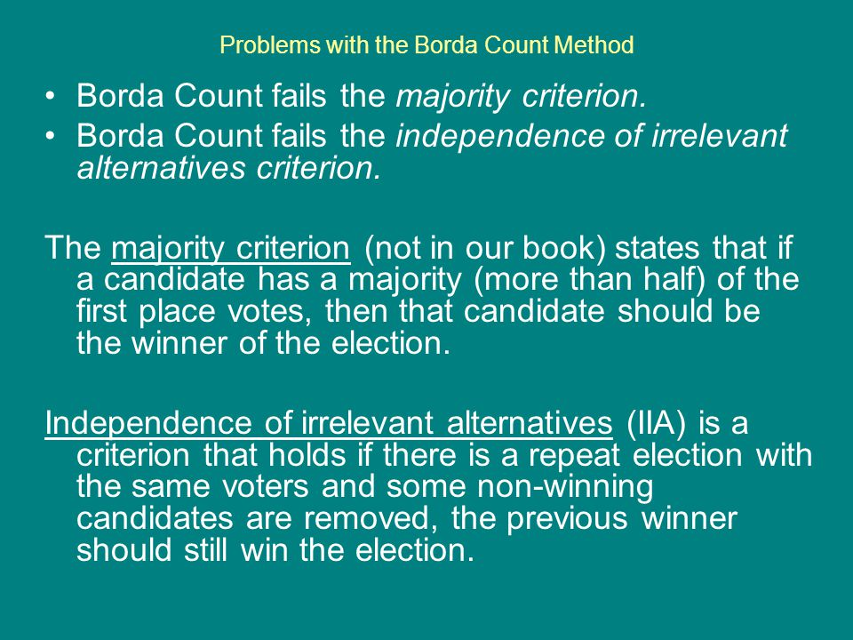 Problems with the Borda Count Method