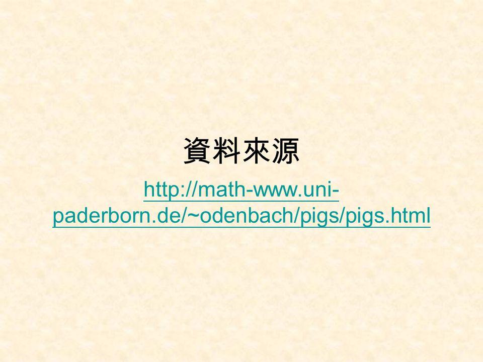 資料來源 http://math-www.uni-paderborn.de/~odenbach/pigs/pigs.html