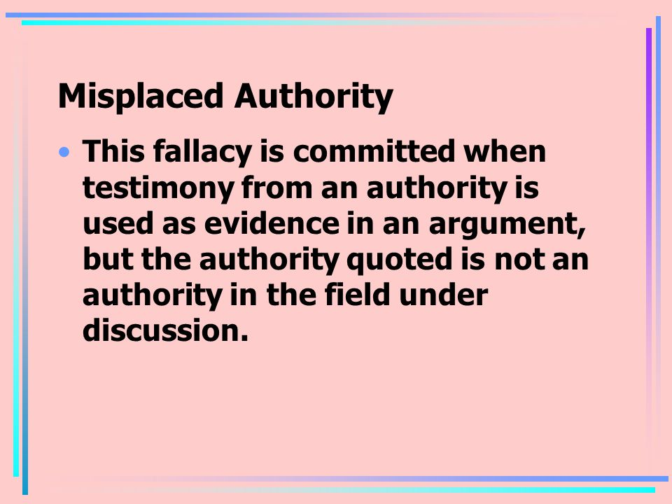 Misplaced Authority
