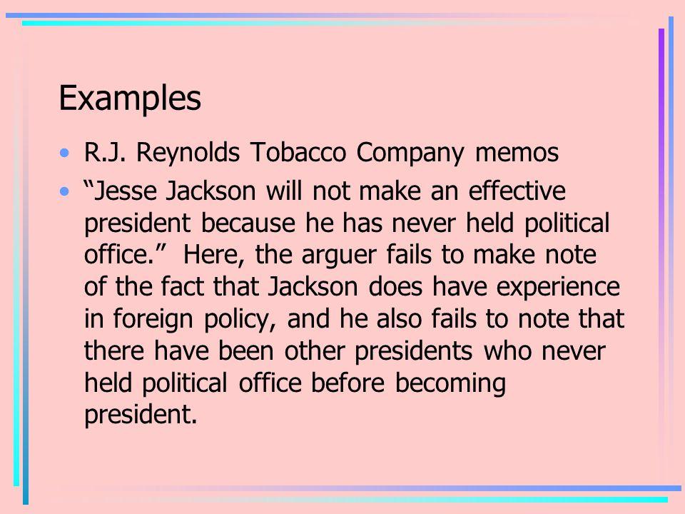 Examples R.J. Reynolds Tobacco Company memos