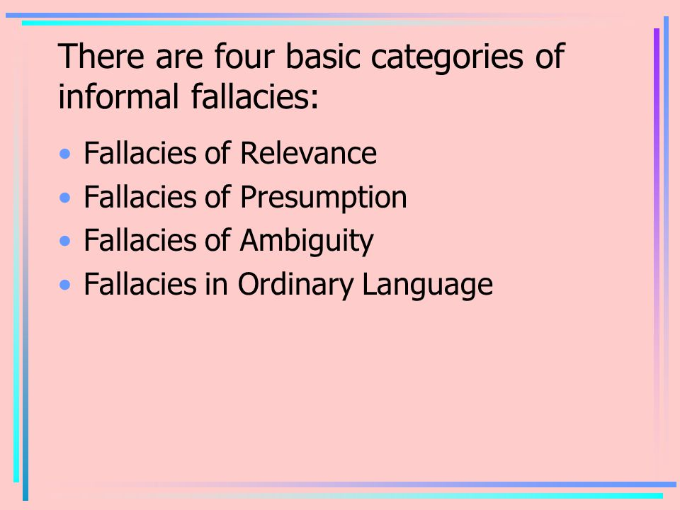 There are four basic categories of informal fallacies: