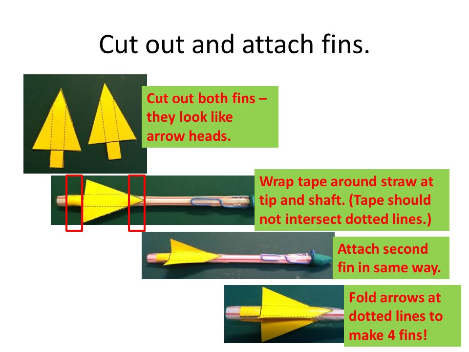 Cut out and attach fins. Cut out both fins – they look like arrow heads.