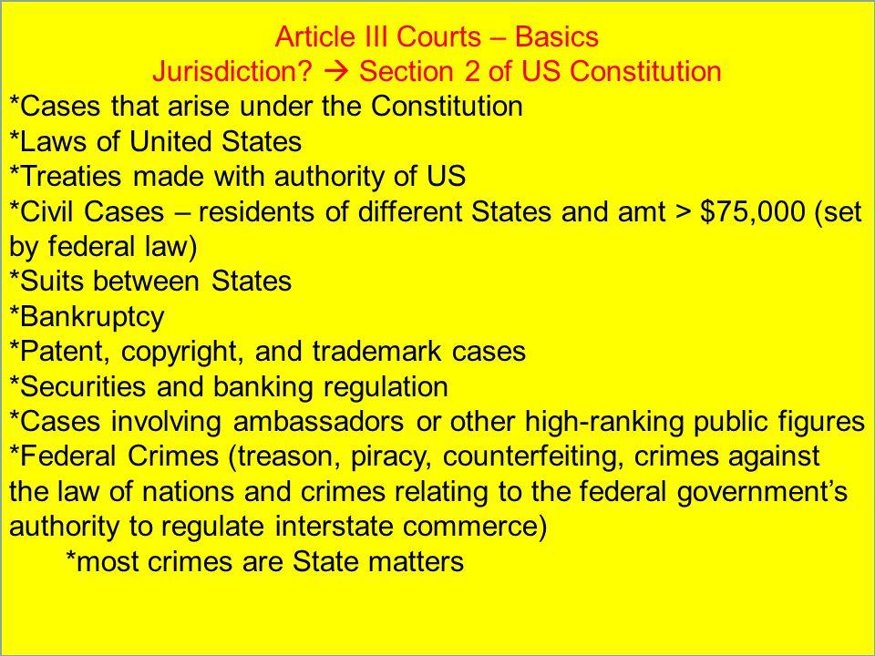 Article III Courts – Basics