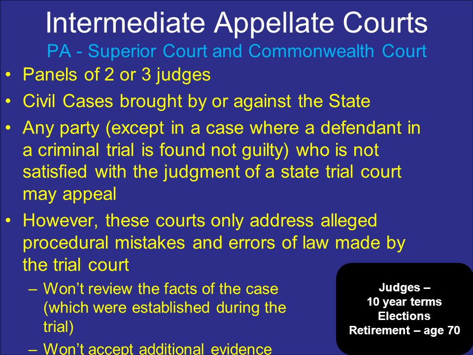 Intermediate Appellate Courts PA - Superior Court and Commonwealth Court
