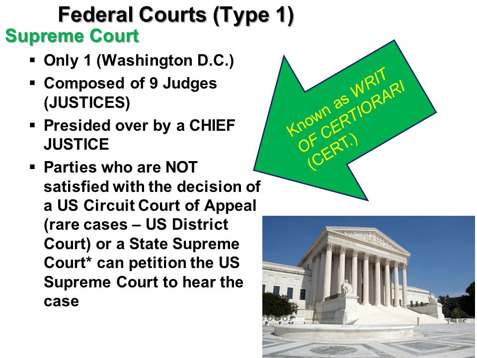 Federal Courts (Type 1) Supreme Court Only 1 (Washington D.C.)