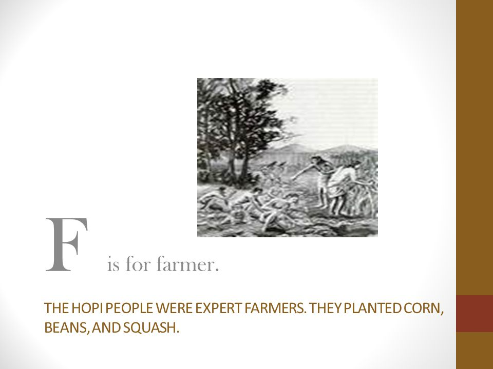 F is for farmer. The Hopi people were expert farmers. They planted corn, beans, and squash.