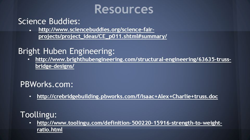 Resources Science Buddies: Bright Huben Engineering: PBWorks.com: