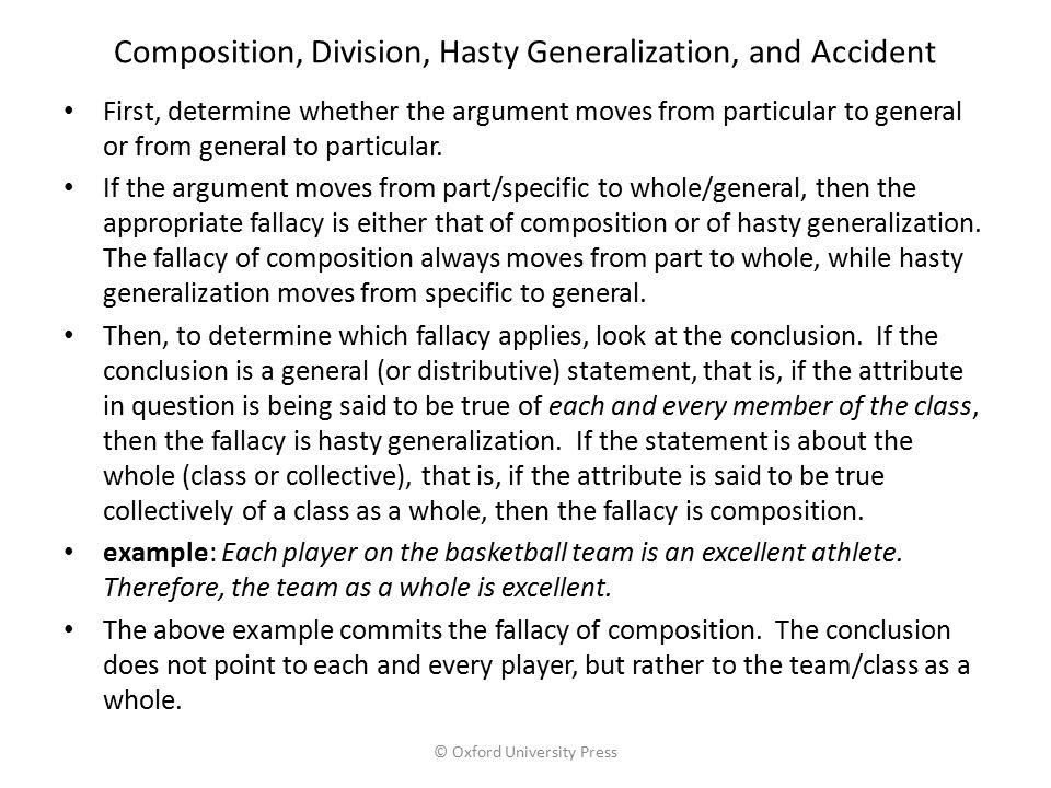 Composition, Division, Hasty Generalization, and Accident