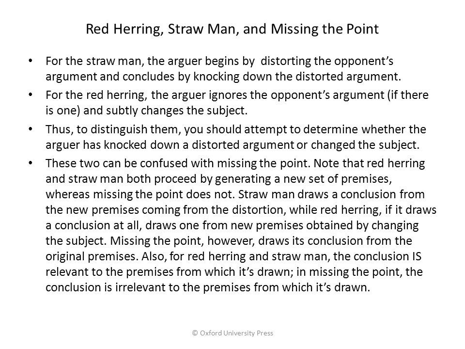 Red Herring, Straw Man, and Missing the Point
