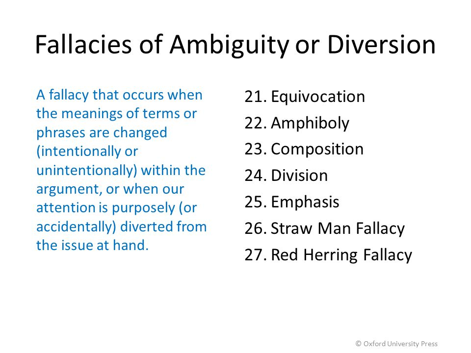 Fallacies of Ambiguity or Diversion