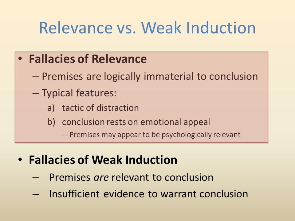 Relevance vs. Weak Induction