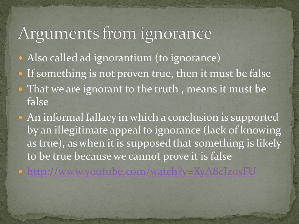 Arguments from ignorance