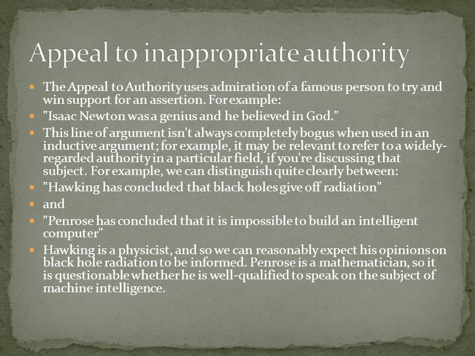 Appeal to inappropriate authority