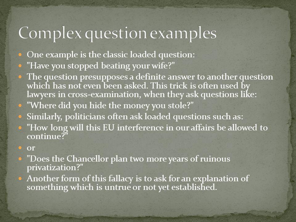 Complex question examples