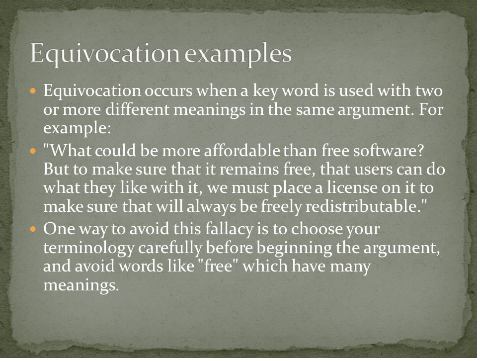 Equivocation examples