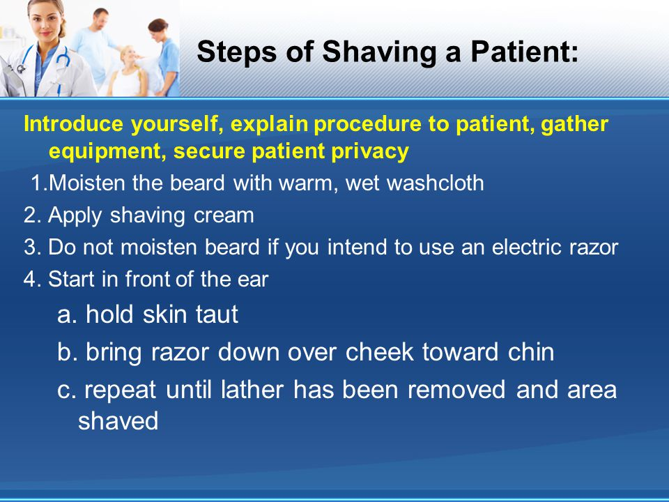 Steps of Shaving a Patient: