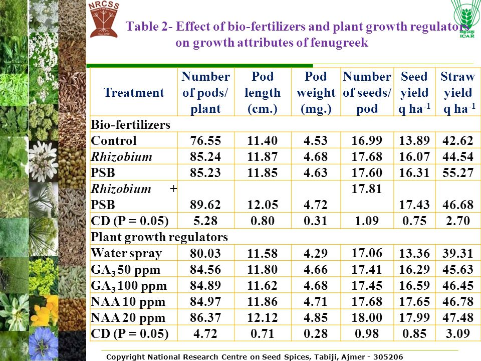 Table 2- Effect of bio-fertilizers and plant growth regulators on growth attributes of fenugreek