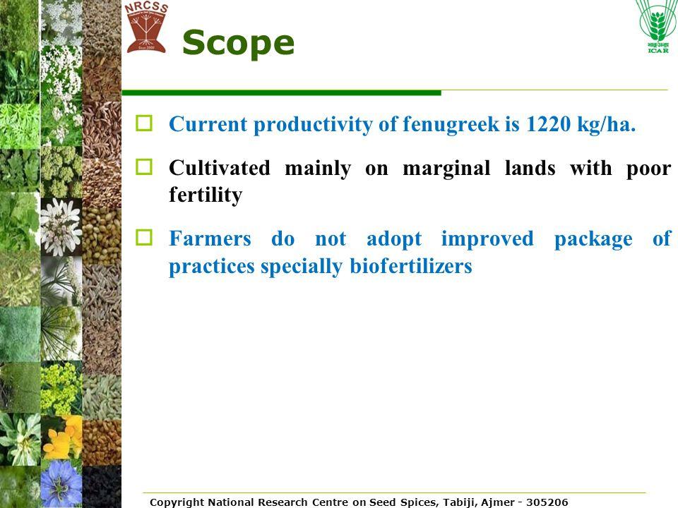 Scope Current productivity of fenugreek is 1220 kg/ha.