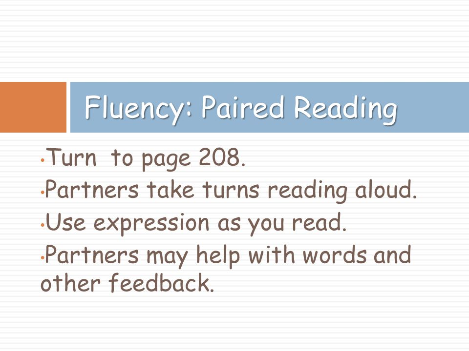Fluency: Paired Reading