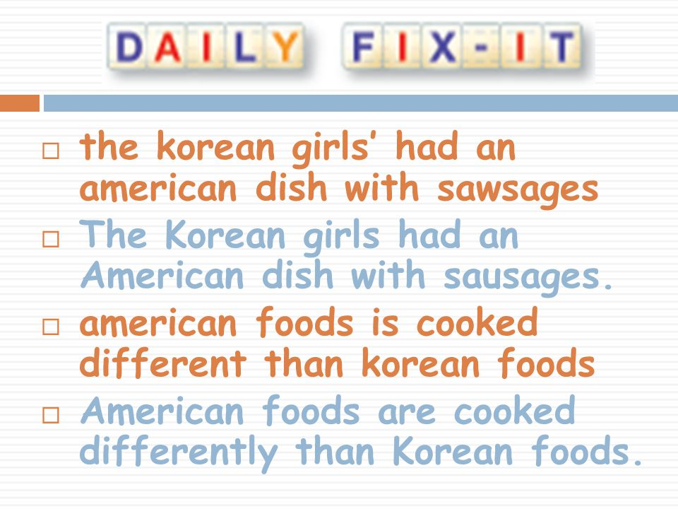 the korean girls' had an american dish with sawsages