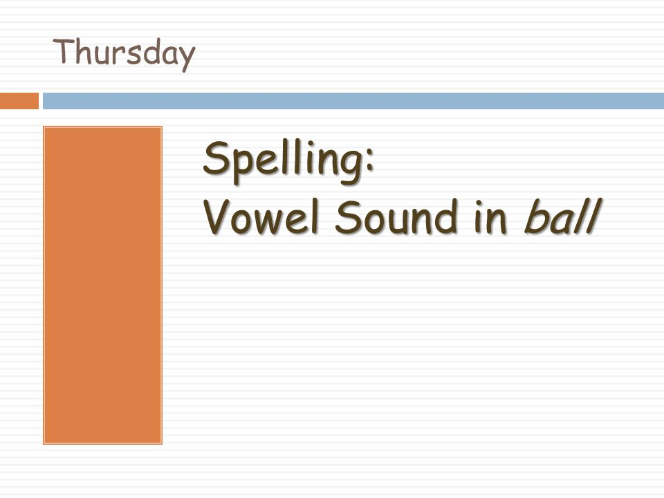 Spelling: Vowel Sound in ball