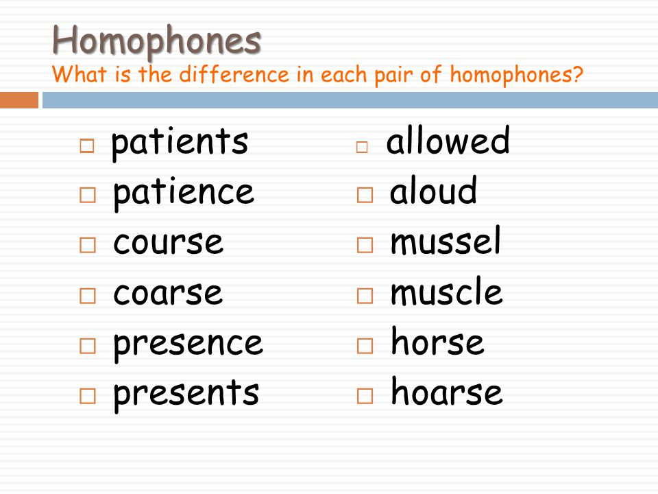 Homophones What is the difference in each pair of homophones