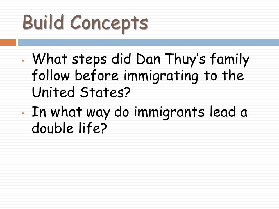Build Concepts What steps did Dan Thuy's family follow before immigrating to the United States.