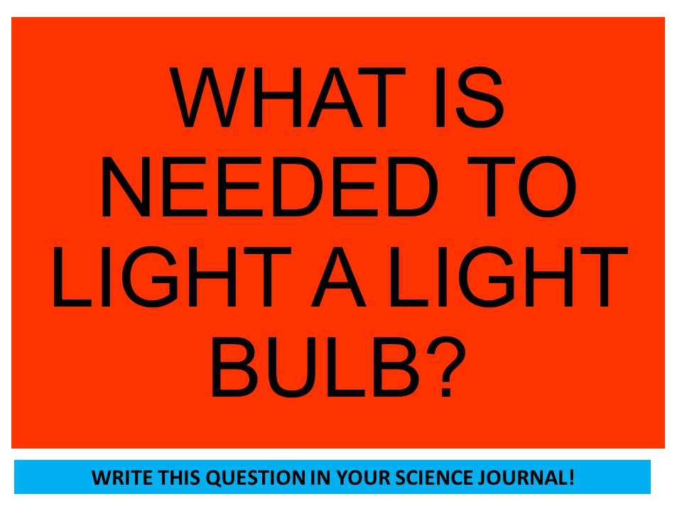 WRITE THIS QUESTION IN YOUR SCIENCE JOURNAL!