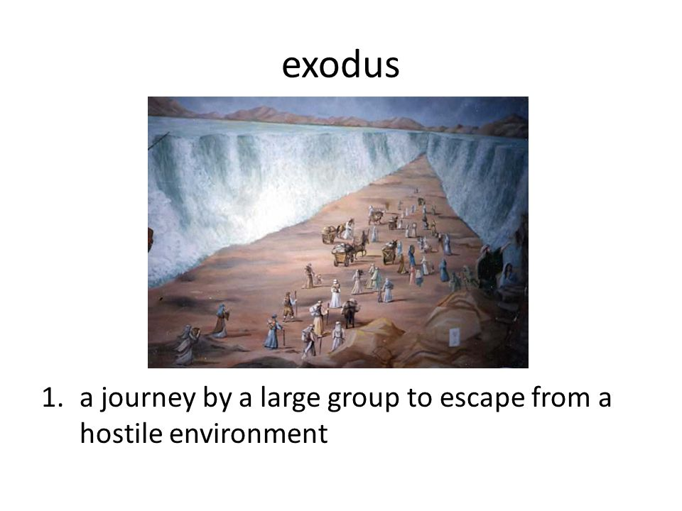 exodus a journey by a large group to escape from a hostile environment