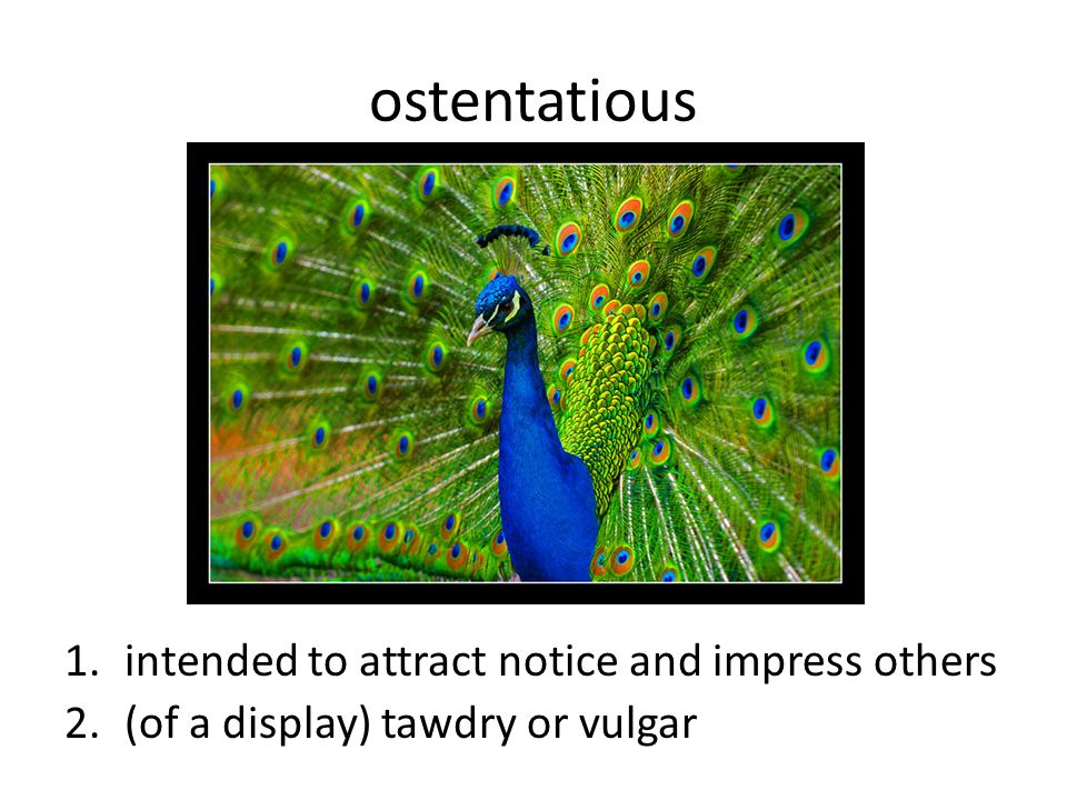 ostentatious intended to attract notice and impress others