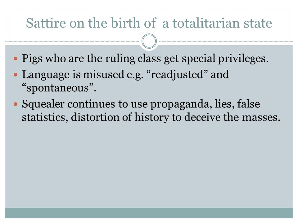 Sattire on the birth of a totalitarian state