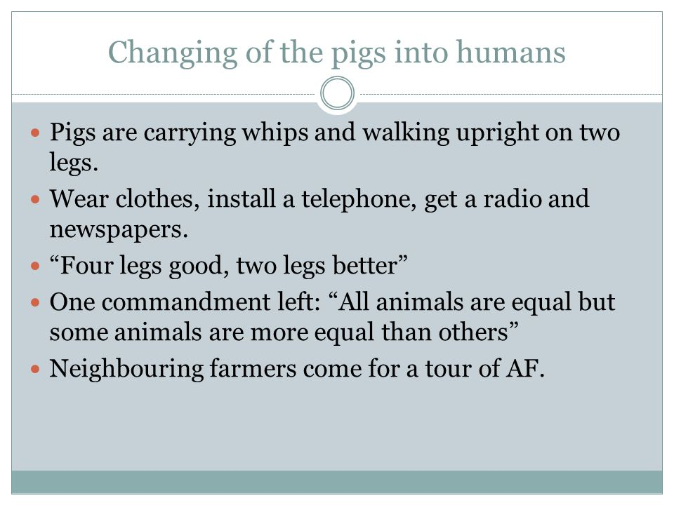Changing of the pigs into humans