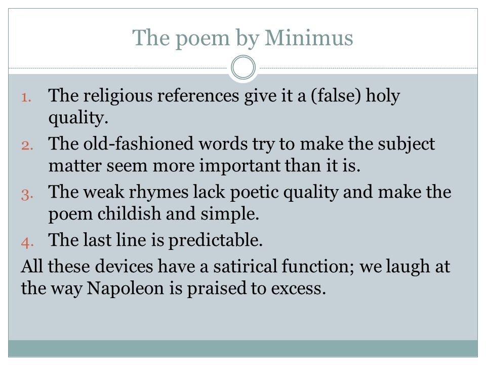 The poem by Minimus The religious references give it a (false) holy quality.