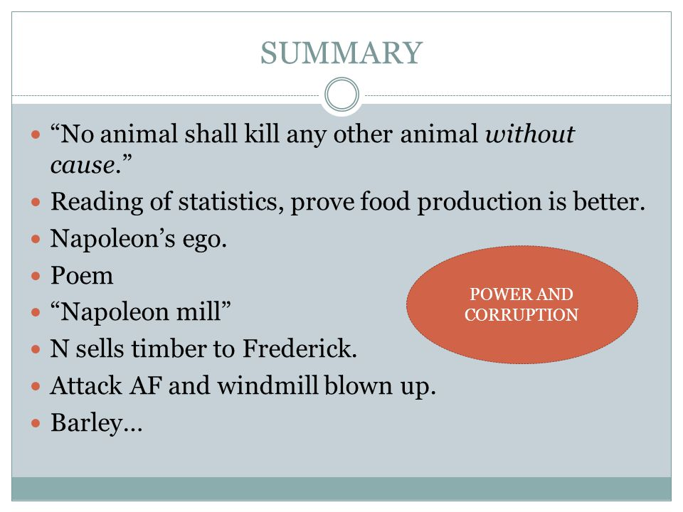SUMMARY No animal shall kill any other animal without cause.