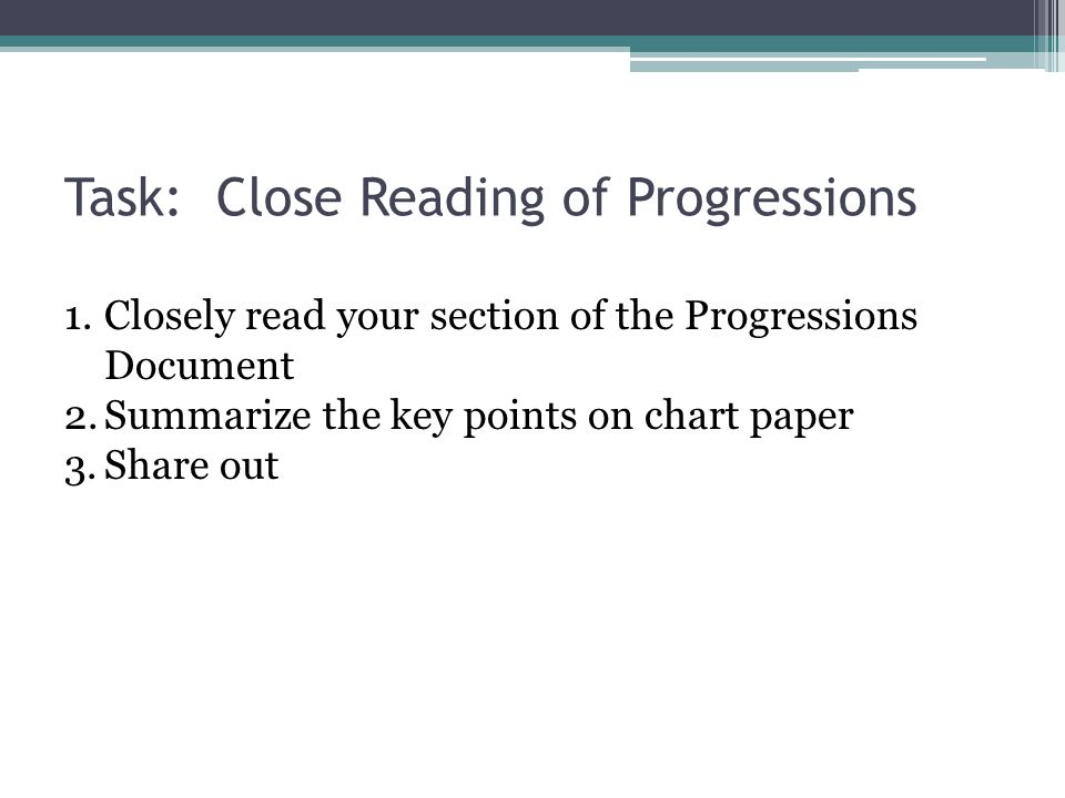 Task: Close Reading of Progressions