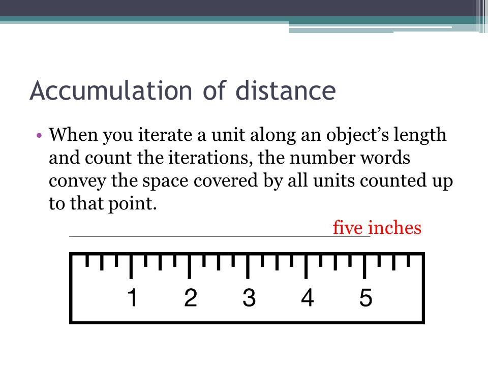 Accumulation of distance