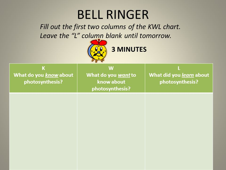 BELL RINGER Fill out the first two columns of the KWL chart.