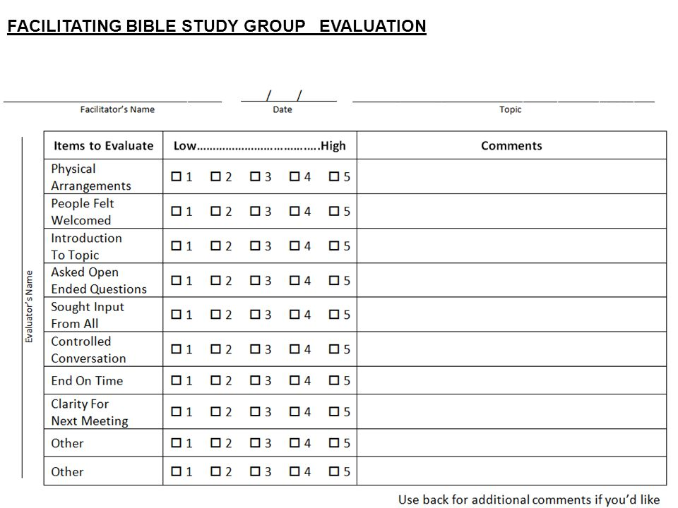 FACILITATING BIBLE STUDY GROUP EVALUATION