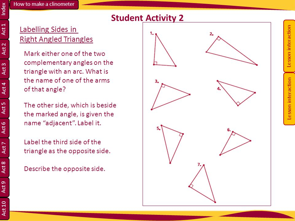 Student Activity 2 Labelling Sides in Right Angled Triangles