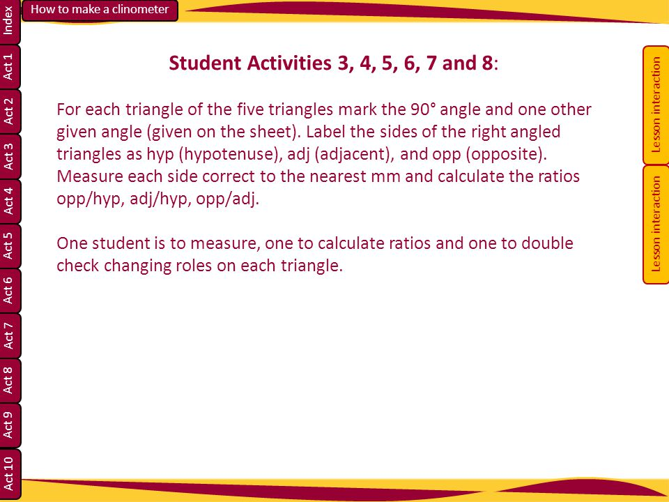 Student Activities 3, 4, 5, 6, 7 and 8: