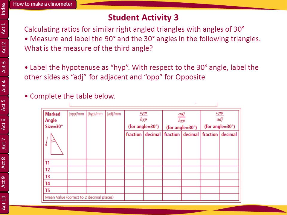 Student Activity 3 Calculating ratios for similar right angled triangles with angles of 30°