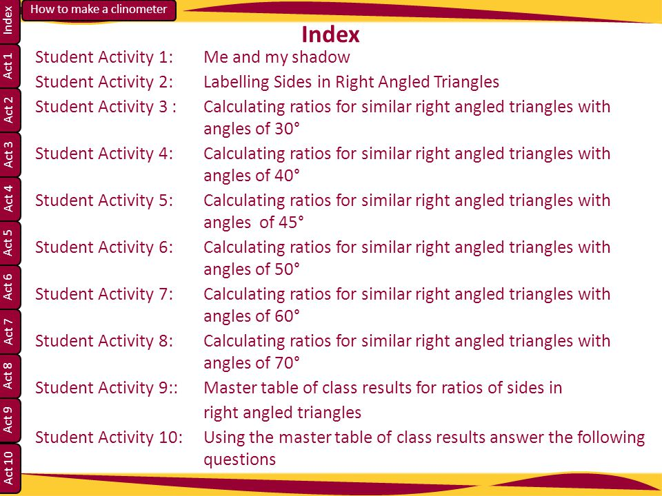 Index Student Activity 1: Me and my shadow