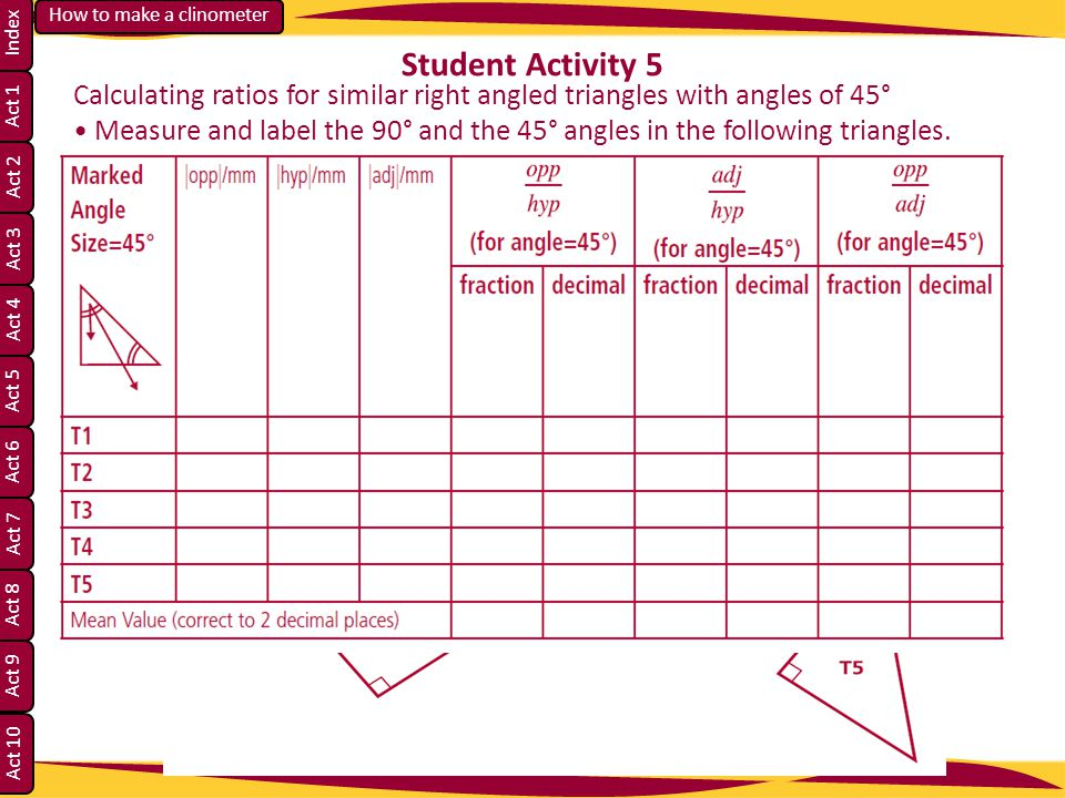 Student Activity 5 Calculating ratios for similar right angled triangles with angles of 45°