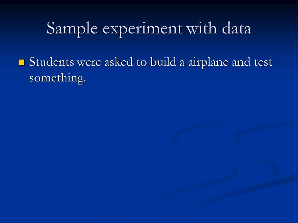 Sample experiment with data