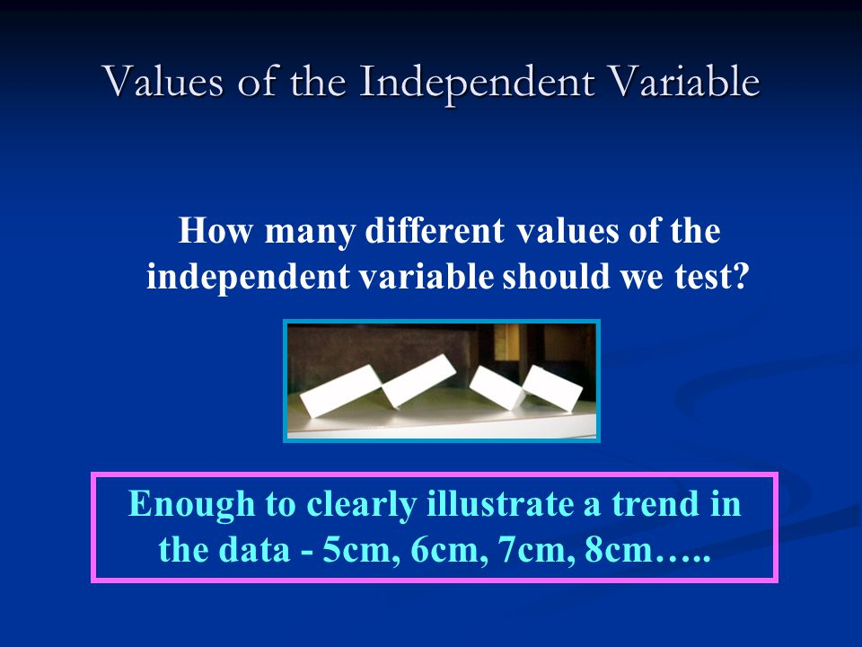 Values of the Independent Variable