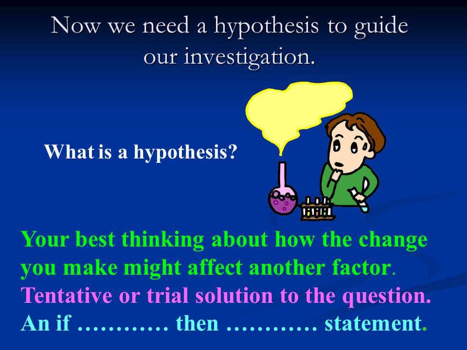 Now we need a hypothesis to guide our investigation.