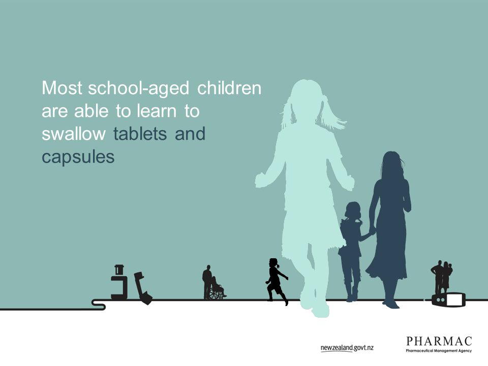 Most school-aged children are able to learn to swallow tablets and capsules