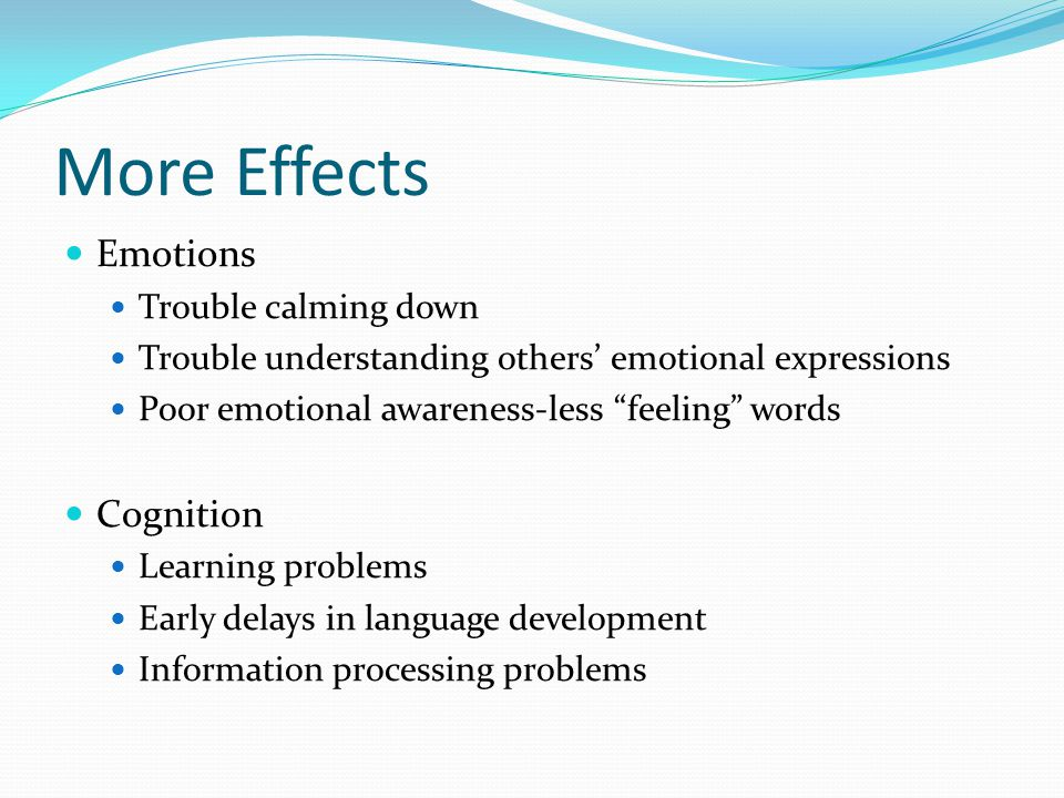 More Effects Emotions Cognition Trouble calming down