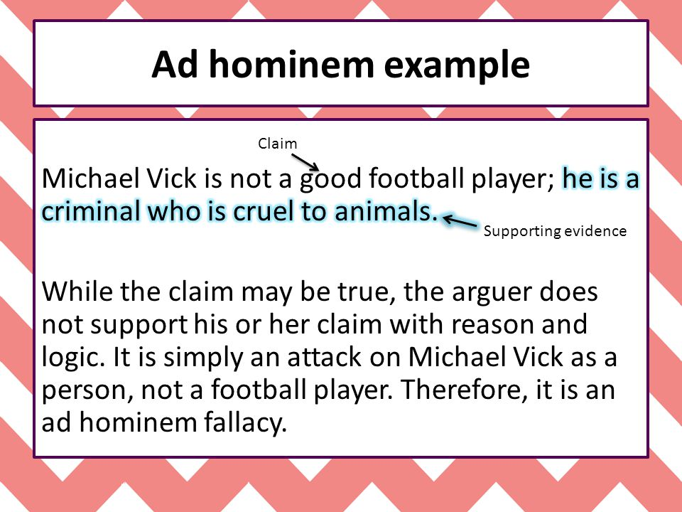 Ad hominem example