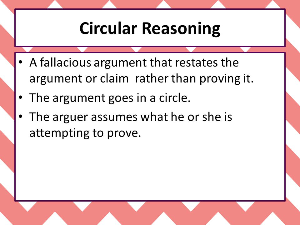 Circular Reasoning A fallacious argument that restates the argument or claim rather than proving it.